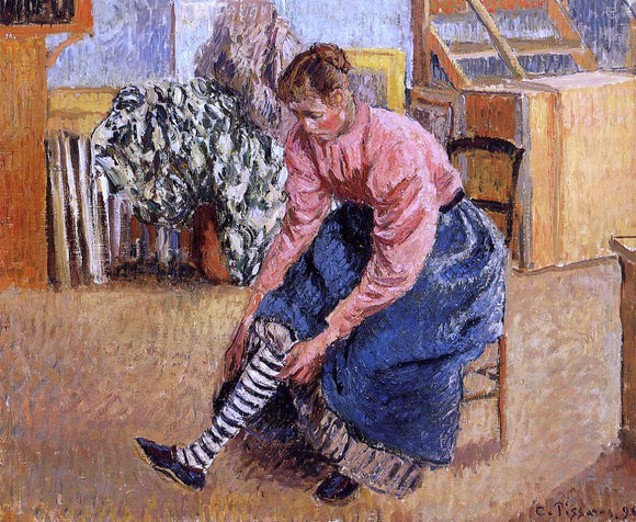 Camille Pissarro Woman Putting on Her Stockings - Canvas Art Print