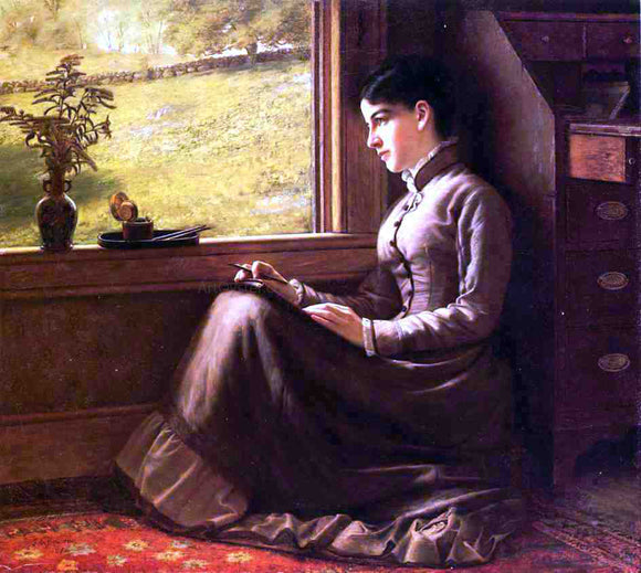 John George Brown Woman Seated at Window - Canvas Art Print