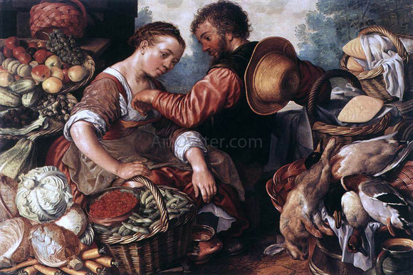 Joachim Beuckelaer Woman Selling Vegetables - Canvas Art Print