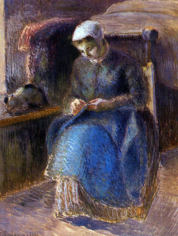 Camille Pissarro Woman Sewing - Canvas Art Print