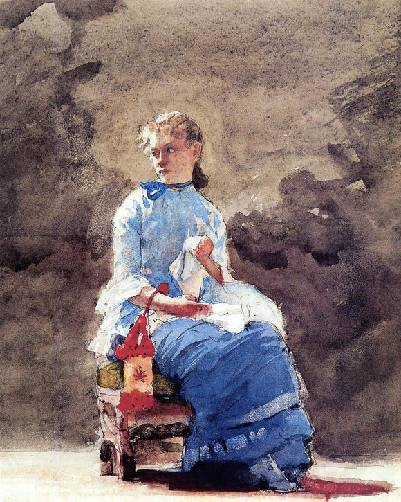Winslow Homer Woman Sewing - Canvas Art Print