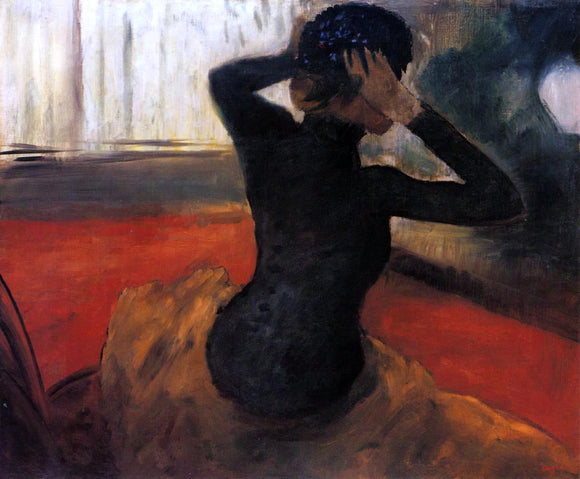 Edgar Degas Woman Trying on a Hat - Canvas Art Print