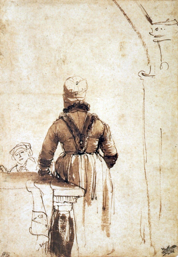 Rembrandt Van Rijn Woman Wearing a Costume of Northern Holland, Seen from her Back - Canvas Art Print