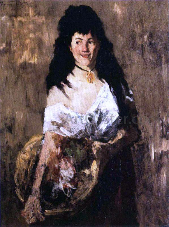 William Merritt Chase Woman with a Basket - Canvas Art Print