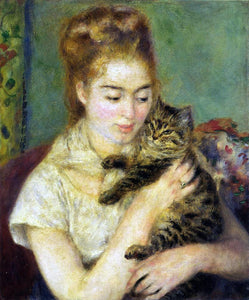 Pierre Auguste Renoir Woman with a Cat - Canvas Art Print