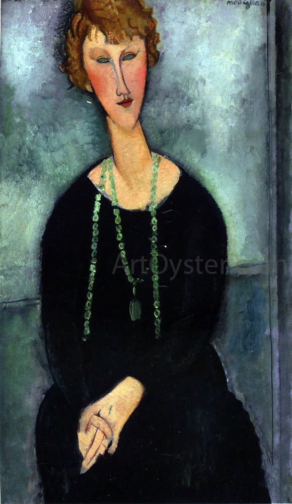 Amedeo Modigliani Woman with a Green Necklace (also known as Madame Menier) - Canvas Art Print