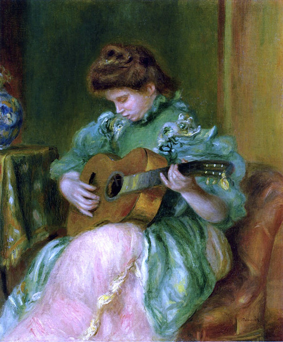 Pierre Auguste Renoir A Woman with a Guitar - Canvas Art Print