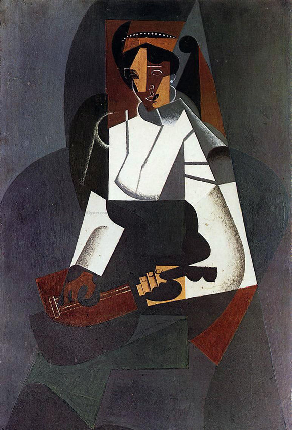 Juan Gris Woman with a Mandolin (after Corot) - Canvas Art Print