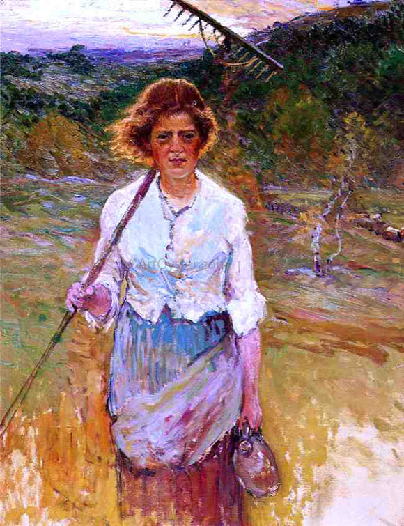 John Joseph Enneking Woman with a Rake - Canvas Art Print