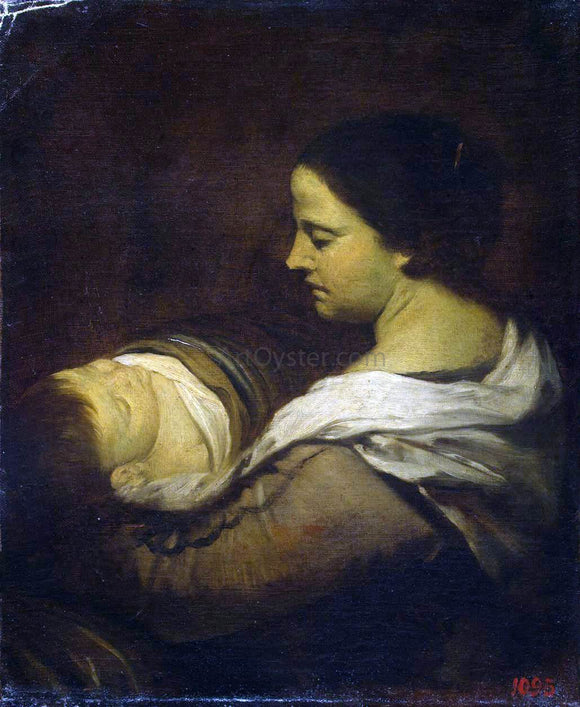 Juan Bautista Martinez Del Mazo Woman with a Sleeping Child - Canvas Art Print