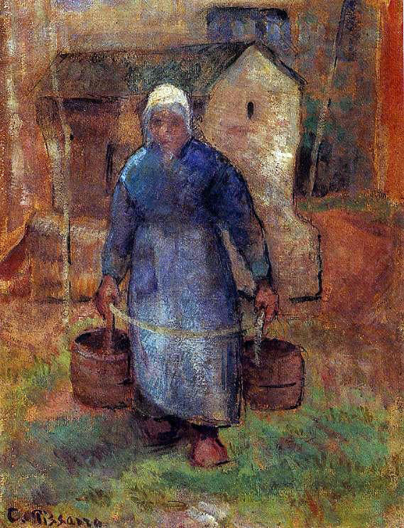 Camille Pissarro Woman with Buckets - Canvas Art Print