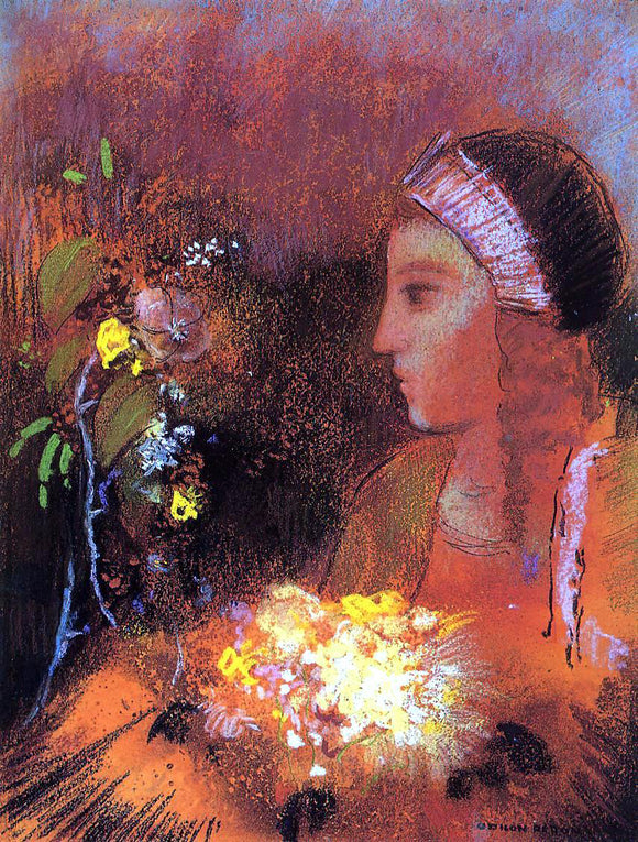 Odilon Redon Woman with Flowers - Canvas Art Print