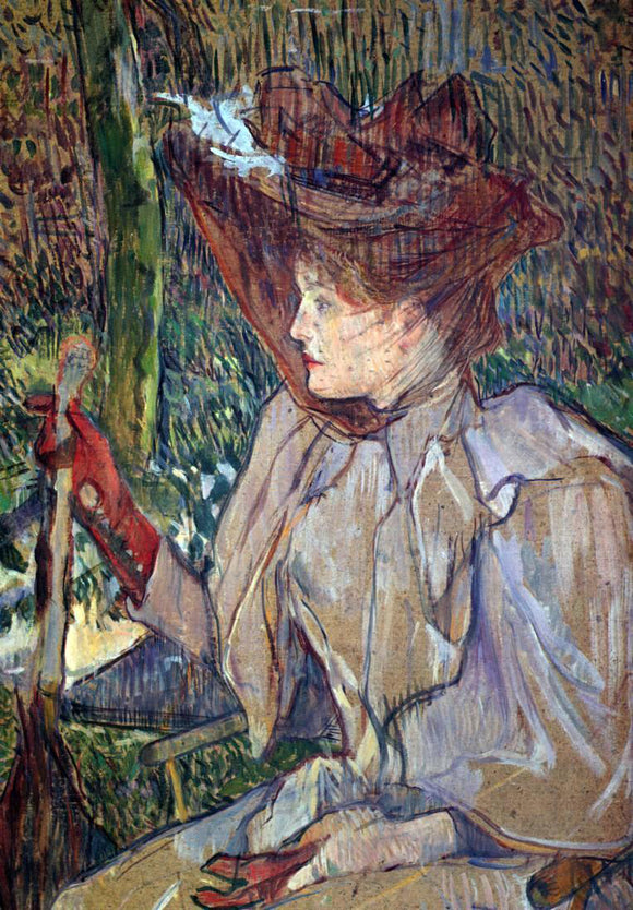 Henri De Toulouse-Lautrec Woman with Gloves (also known as Honorine Platzer) - Canvas Art Print