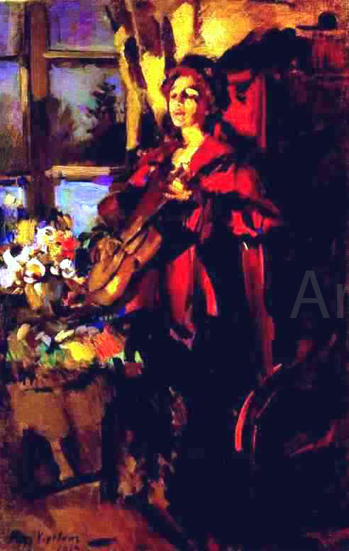 Constantin Alexeevich Korovin Woman with Guitar - Canvas Art Print