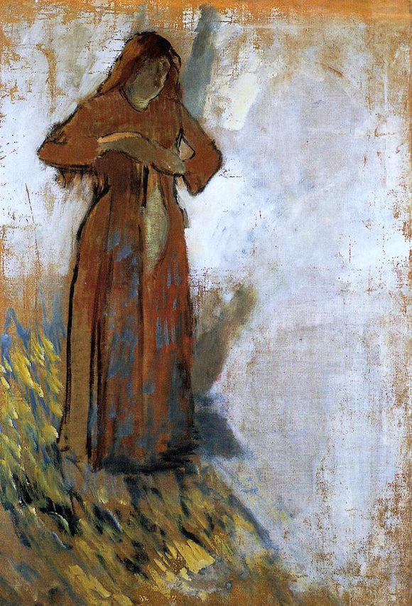 Edgar Degas Woman with Loose Red Hair - Canvas Art Print