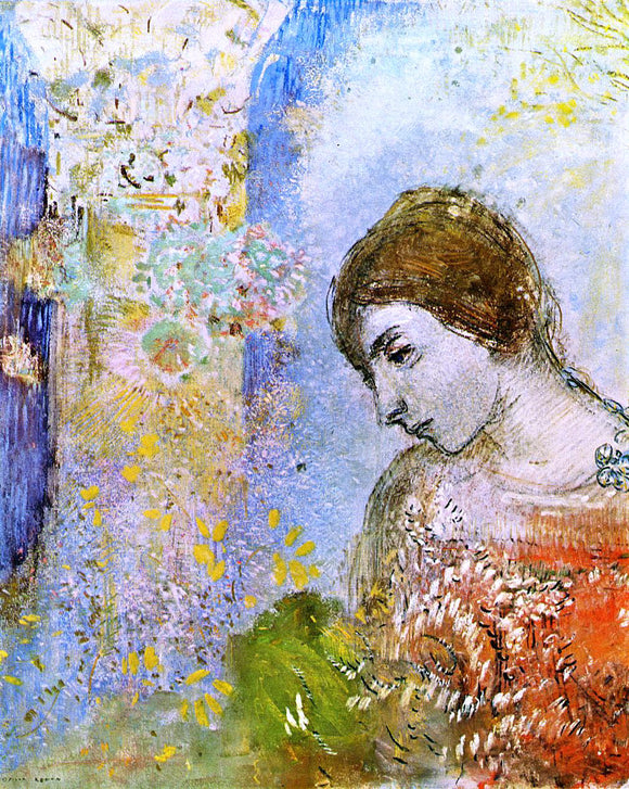 Odilon Redon Woman with Pillar of Flowers - Canvas Art Print
