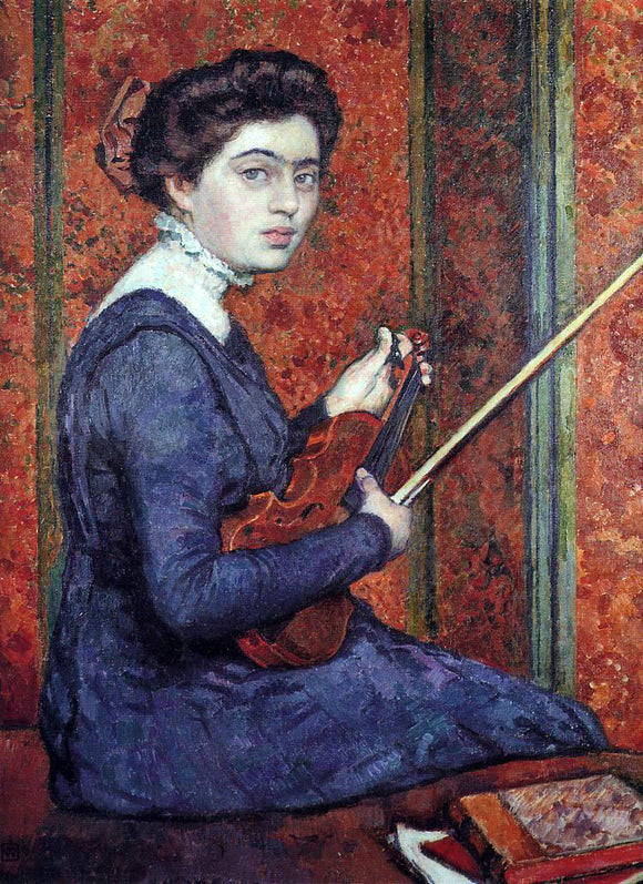 Theo Van Rysselberghe Woman with Violin (also known as Portrait of Rene Druet) - Canvas Art Print