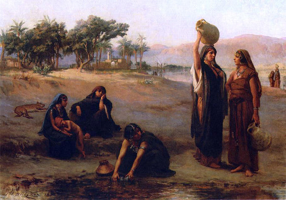 Frederick Arthur Bridgeman Women Drawing Water from The Nile - Canvas Art Print