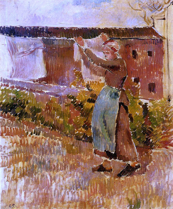 Camille Pissarro Women Tending the Laundry (study) - Canvas Art Print