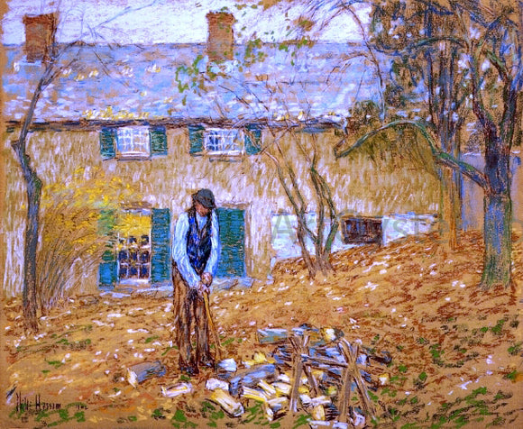 Frederick Childe Hassam A Woodchopper - Canvas Art Print