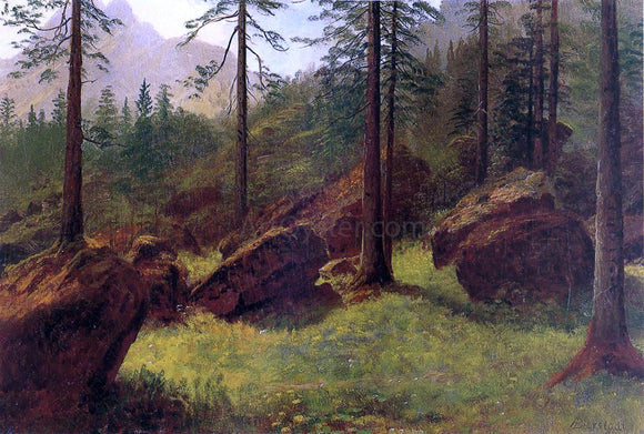 Albert Bierstadt Wooded Landscape - Canvas Art Print