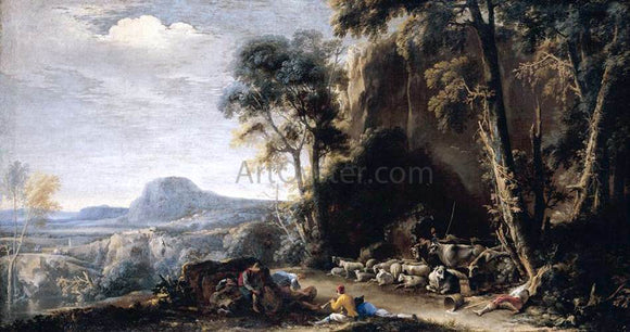 Salvator Rosa Wooded Landscape - Canvas Art Print
