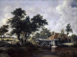 Meyndert Hobbema Wooded Landscape with Water Mill - Canvas Art Print