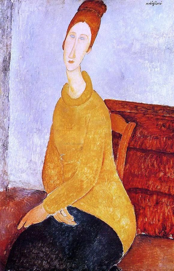 Amedeo Modigliani Yellow Sweater (also known as Portrait of Jeanne Hebuterne) - Canvas Art Print