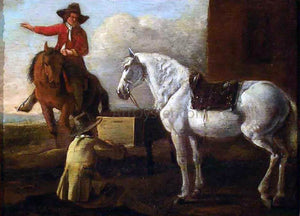 Abraham Van Calraet Young Artist Painting a Horse and Rider - Canvas Art Print