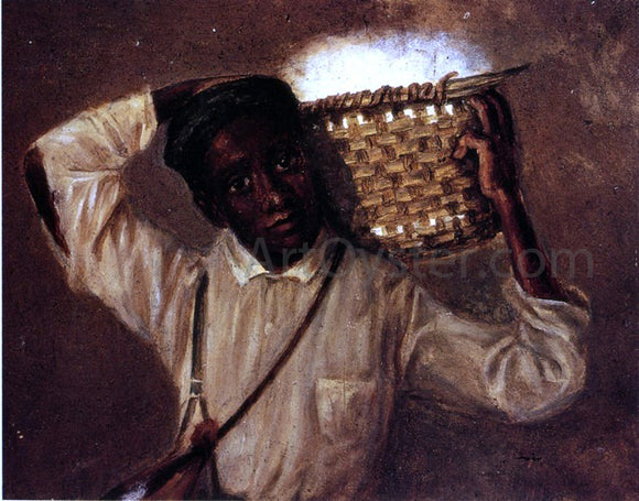William Aiken Walker Young Boy with Cotton Basket on Shoulders - Canvas Art Print