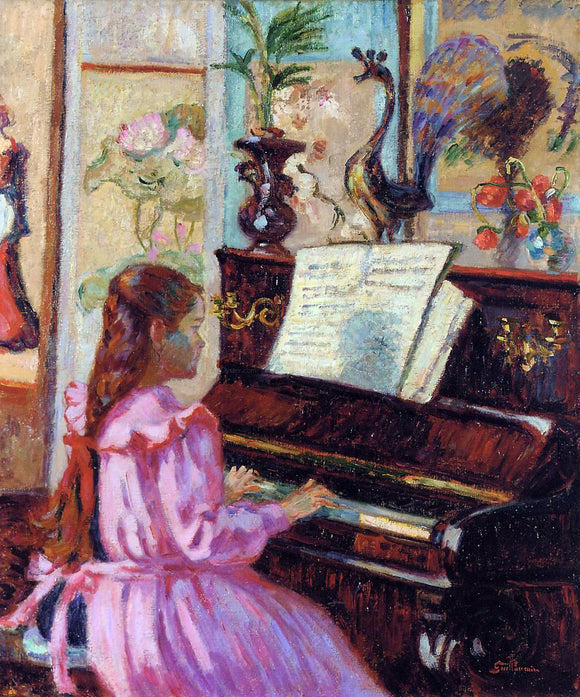 Armand Guillaumin Young Girl at the Piano - Canvas Art Print