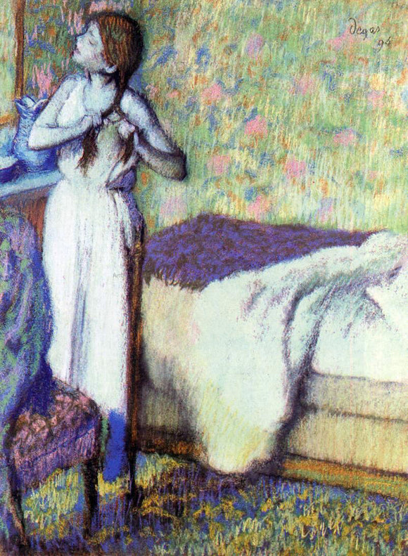 Edgar Degas Young Girl Braiding Her Hair - Canvas Art Print