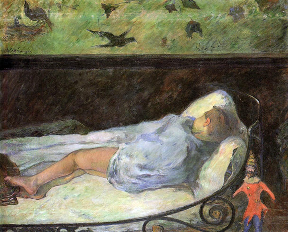 Paul Gauguin Young Girl Dreaming (also known as Study of a Child Asleep, the Painter's Daughter, Line, Rue Carcel) - Canvas Art Print