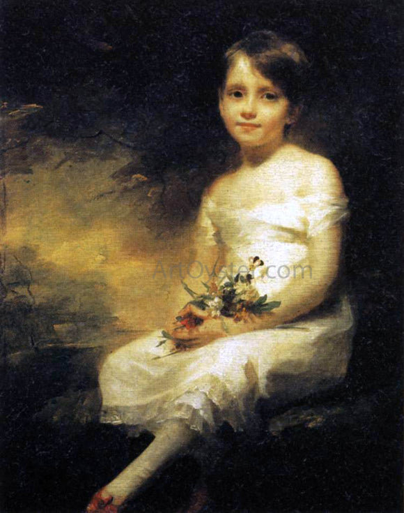 Sir Henry Raeburn Young Girl Holding Flowers - Canvas Art Print