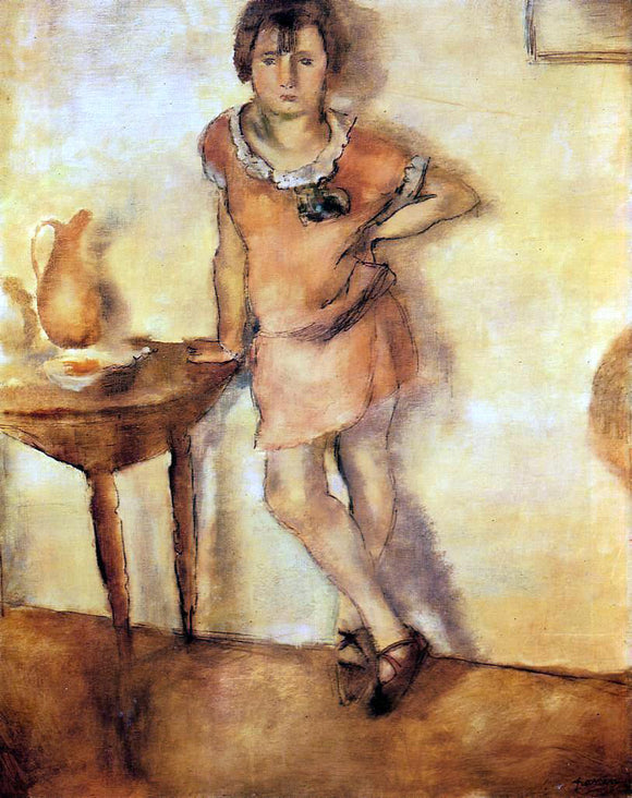 Jules Pascin Young Girl in a Dress - Canvas Art Print