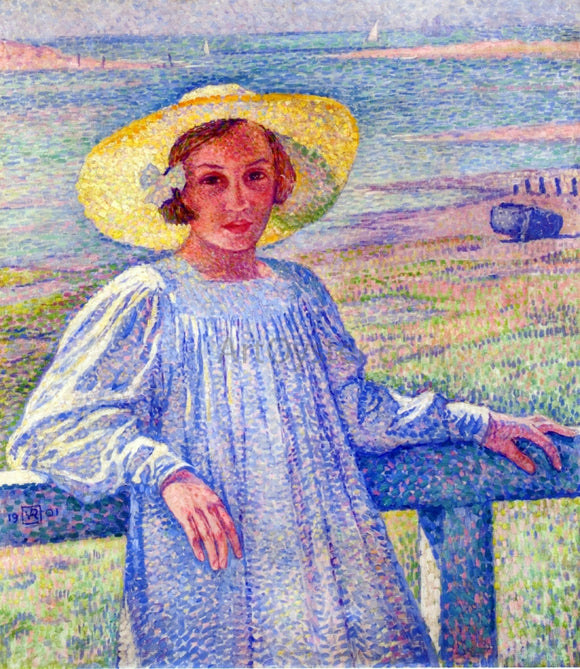 Theo Van Rysselberghe Young Girl in a Straw Hat - Canvas Art Print