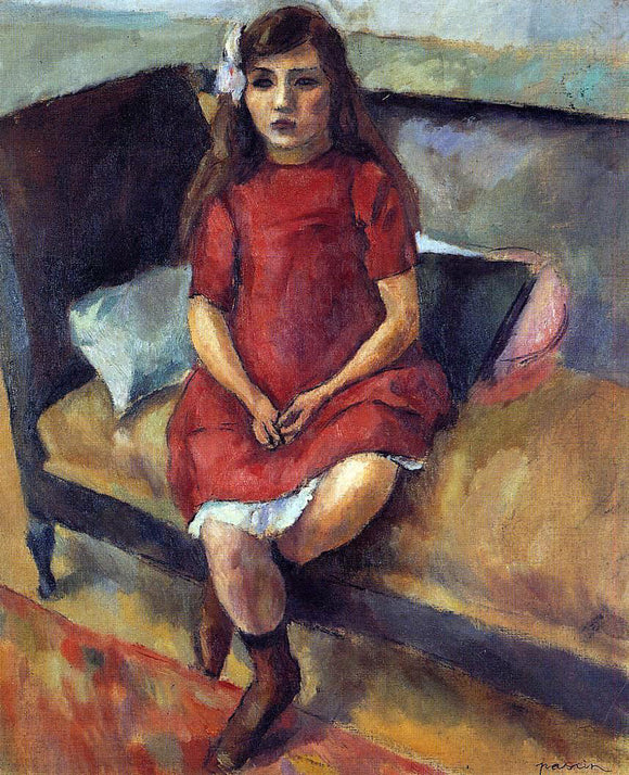 Jules Pascin Young Girl in Red - Canvas Art Print