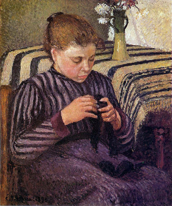 Camille Pissarro Young Girl Mending Her Stockings - Canvas Art Print