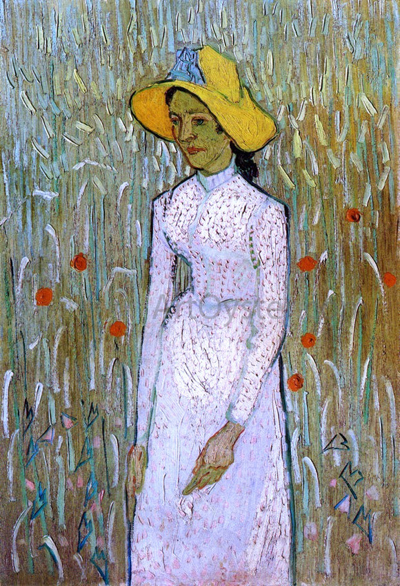 Vincent Van Gogh Young Girl Standing Against a Background of Wheat - Canvas Art Print