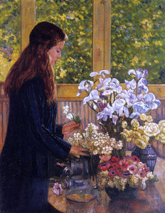 Theo Van Rysselberghe Young Girl with a Vase of Flowers - Canvas Art Print
