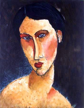 Amedeo Modigliani Young Girl with Blue Eyes (also known as Jeune femme aux yeux bleus) - Canvas Art Print