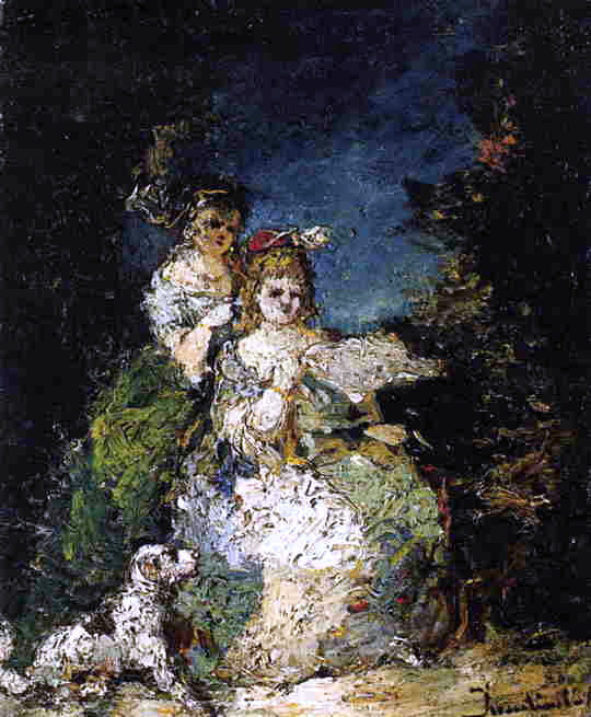 Adolphe-Joseph-Thomas Monticelli Young Girls and Dog in a Park - Canvas Art Print