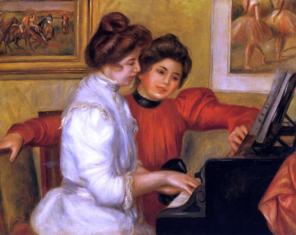 Pierre Auguste Renoir Young Girls at the Piano - Canvas Art Print