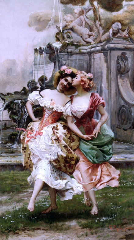 Gioacchino Pagliei Young Girls Dancing by a Fountain - Canvas Art Print