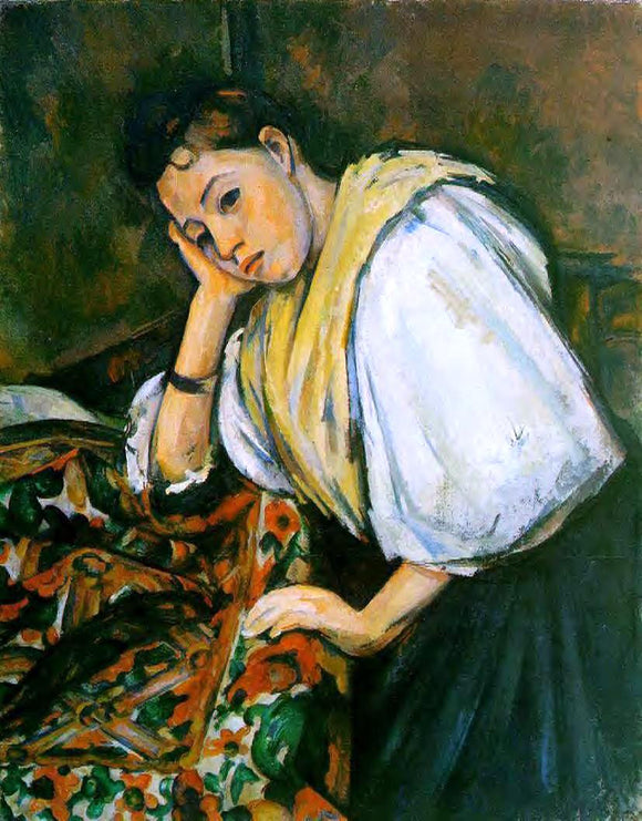Paul Cezanne Young Italian Girl Resting on Her Elbow - Canvas Art Print