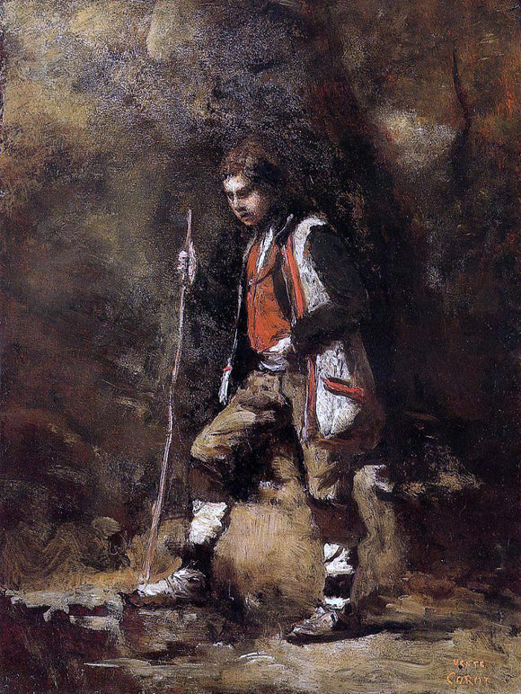 Jean-Baptiste-Camille Corot Young Italian Patriot in the Mountains - Canvas Art Print