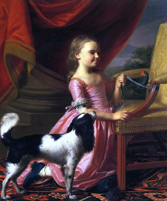 John Singleton Copley Young Lady with a Bird and Dog - Canvas Art Print
