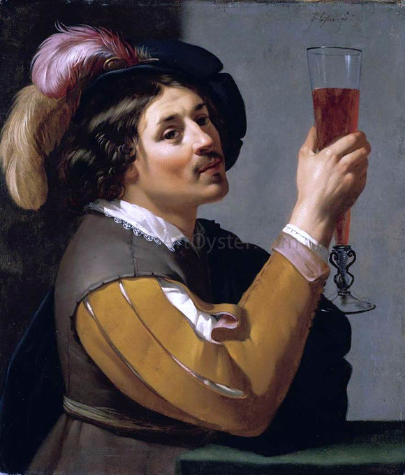 Jan Van Bijlert Young Man Drinking a Glass of Wine - Canvas Art Print