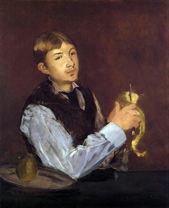 Edouard Manet Young Man Peeling a Pear (also known as Portrait of Leon Leenhoff) - Canvas Art Print