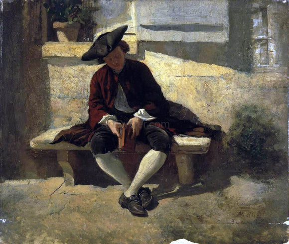 Jean-Louis Ernest Meissonier Young Man with a Book - Canvas Art Print